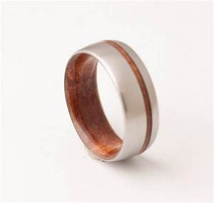titanium and red wood mens wood rings wood wedding With wood and metal wedding rings