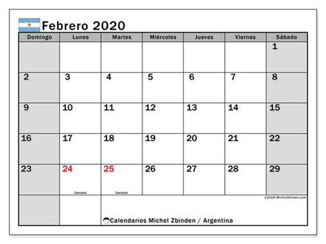 calendario febrero argentina numeros calendario imprimir