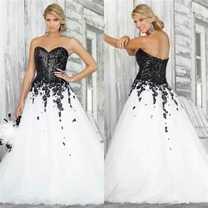 2016 unique sweetheart a line lace applique sequin robe de With unique black and white wedding dresses