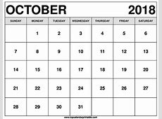 October 2018 Calendar Printable Word Free Templates Download