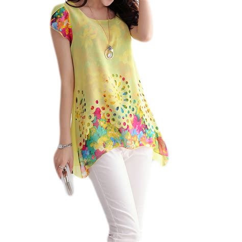 summer blouse summer 2015 plus size chiffon blouses floral print