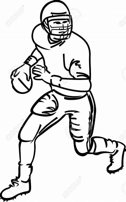 Football Outline Player Line Clipartmag