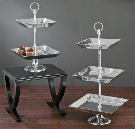 large tiered aluminum tray stands tripar international