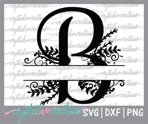 letter  split monogram svg png dxf regal split alphabet etsy