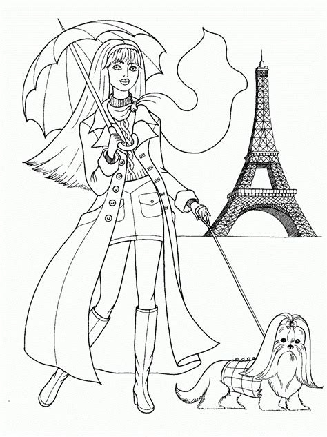 teenager girl   dog  paris coloring page  printable coloring pages  kids