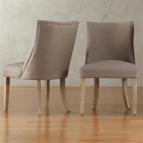 Grey Upholstered Dining Chairs With Nailheads by Willoughby Nailhead Dining Chair West Elm