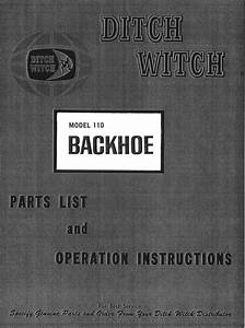 Ditch Witch 110 Backhoe Attachment Parts Operators Manual