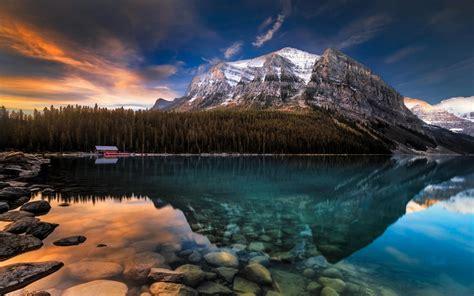 nature landscape lake mountain rocks forest reflection