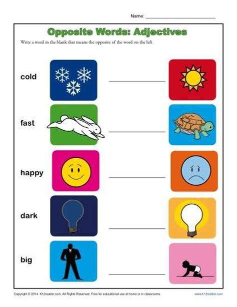 kindergarten antonym worksheet opposite words