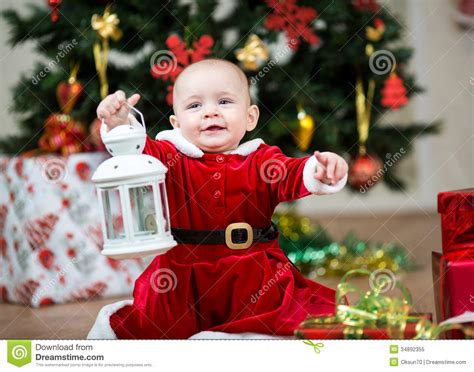 Baby  Ee    Ee   Dressed As Santa Claus At Christmas Tree Royalty