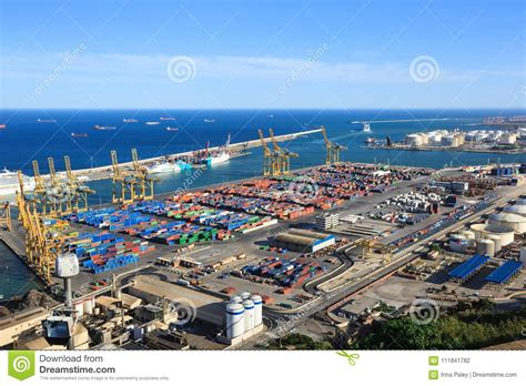 Panoramic View Of The Cargo Port In Barcelona, Sunset Time ...