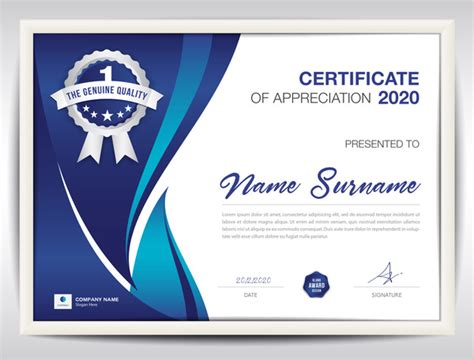 certificate template  blue abstract background vector
