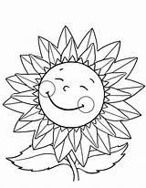 Sunflower Coloring Happy Girassol Colorir Girasol Desenhos Animados Desenho Imprimir Printable Sunflowers Colouring Dos Flower Feliz Dibujos Pintar Colorear Impresso sketch template