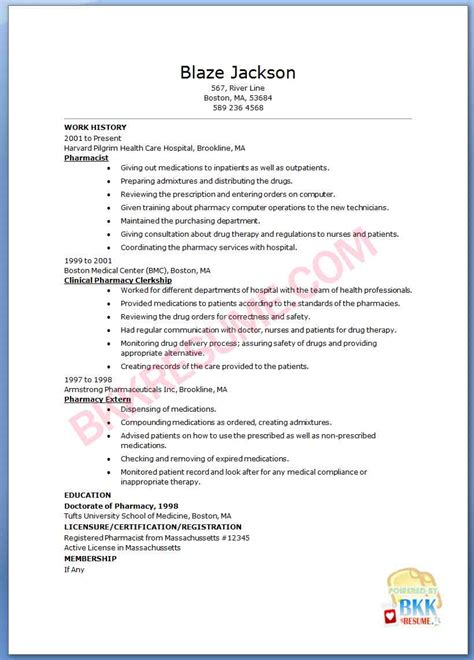 Pharmacist Resumes Templates by Pharmacist Resume Template Premium Resume Sles Exle Pharmacy Resume Occupational
