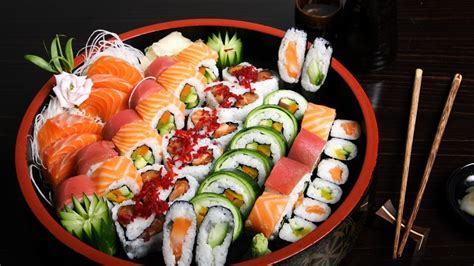 Full HD Wallpaper sushi composition set sticks, Desktop