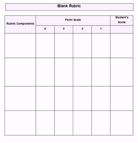 grading rubric template blank grading project rubric template word doc