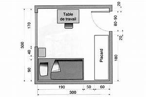 Lit Simple Dimension : une chambre avec bureau et un lit simple ou 2 lits superpos s dimension chambre pinterest ~ Teatrodelosmanantiales.com Idées de Décoration