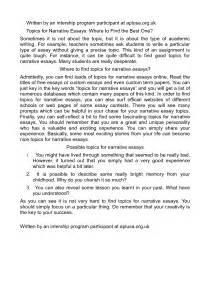 Narrative Resumen by Topics For Narrative Essays Recommendation Letter Format