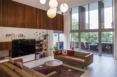 stained timber  stonework shape mid century modern