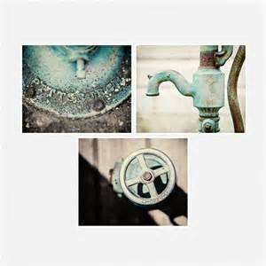 teal bathroom decor set of 3 rustic by lisarussofineart