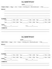 Printable Toddler Daily Report Sheets