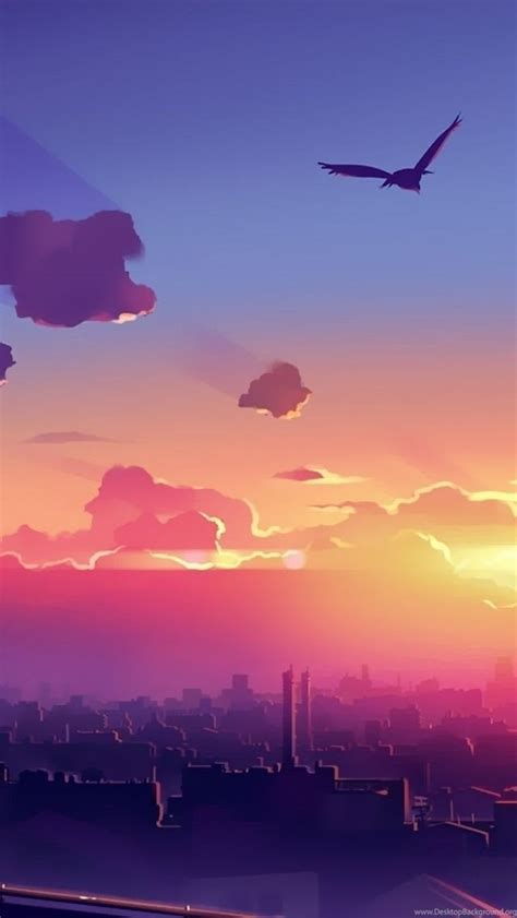 Anime Sunset Wallpaper Hd - anime city sunset iphone 5 wallpapers desktop background