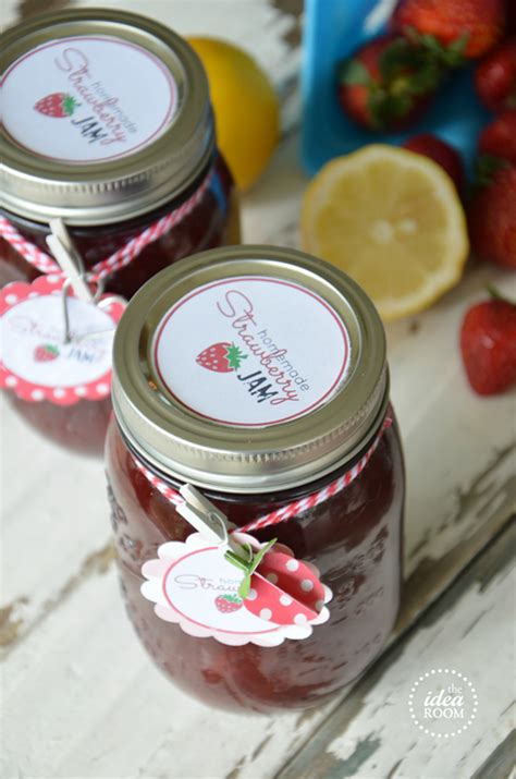 homemade strawberry jam  jam labels  idea room