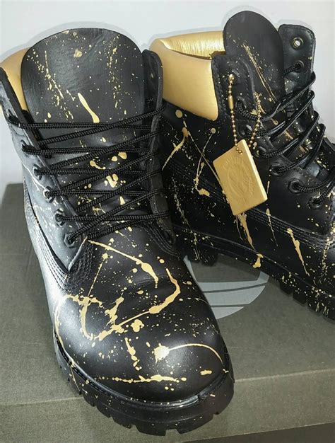 designer timberland boots custom black and gold 24k timberland boots painted