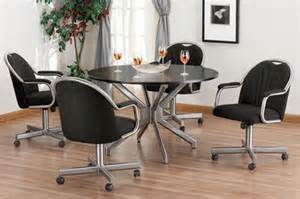 looking for a kitchen set with chairs that have casters