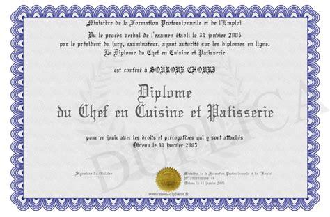 diplome du chef en cuisine et patisserie