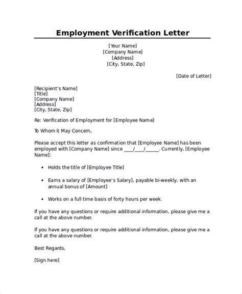 employment verification letter sample template business