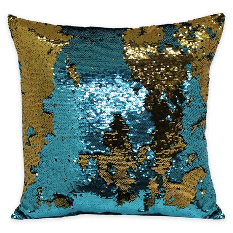 Brentwood Mermaid Sequin Throw Pillow in Teal/Bronze