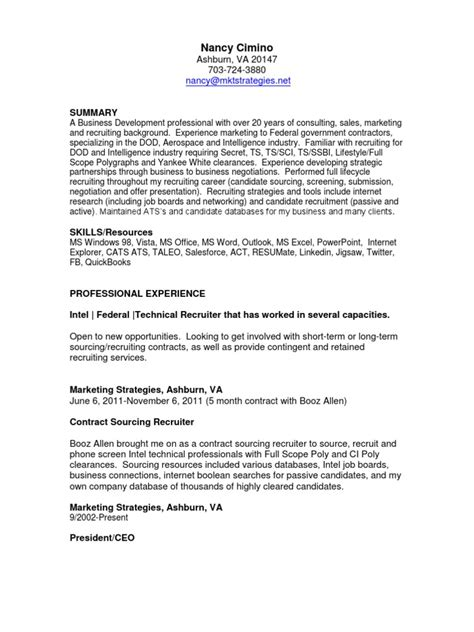 Intel Resume Technology by Intel Federal Technical Recruiter In Washington Dc Resume