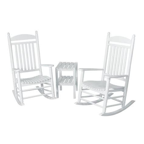 Polywood Rocking Chairs White by Polywood Jefferson White 3 Patio Rocker Set Pws140 1