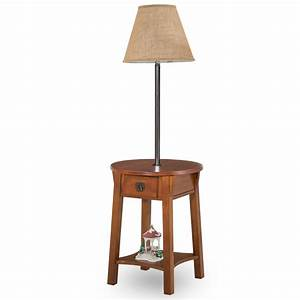 Leick chocolate chairside solid wood lamp table home for Leick swing arm floor lamp with wood end table