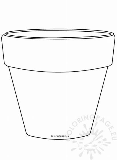 Pot Flower Coloring Shape Printable Pots Colorir