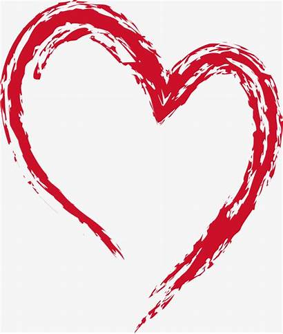 Heart Outline Brush Clipart Shaped Ink Drawing