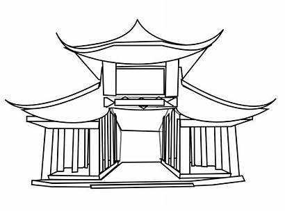 Chinese China Drawing Clipart Building Temple Ancient