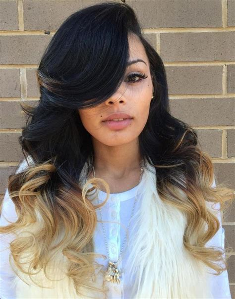 Two Tone Sew In Hairstyles by Best 25 Side Part Weave Ideas On Side Part