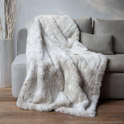 plaid canapé blanc plaid fausse fourrure loup blanc 140x180cm home