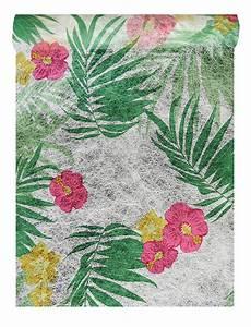 Chemin De Table Tropical : chemin de table intiss tropical feuillage et fleurs d coration de table ~ Melissatoandfro.com Idées de Décoration