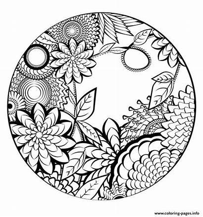 Coloring Nature Flowers Mandala Pages Printable Vegetation