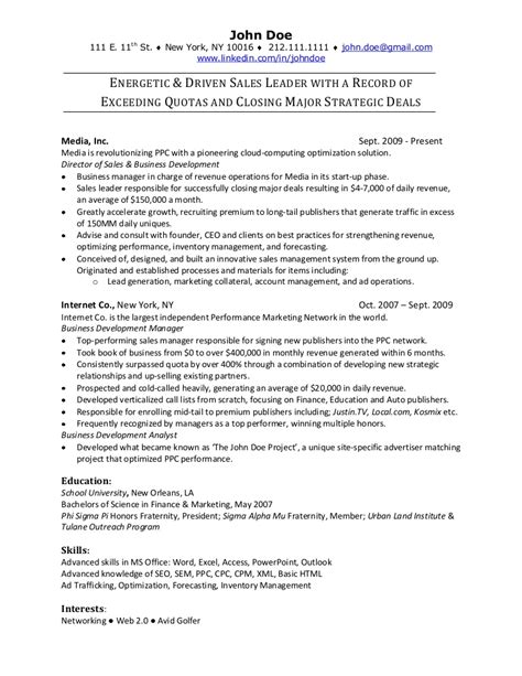 Sales Resume by Sales Resume Sle