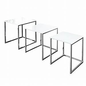 Beistelltisch Set Weiß : design beistelltisch 3er set fusion hochglanz weiss chrom m bel24 ~ Frokenaadalensverden.com Haus und Dekorationen