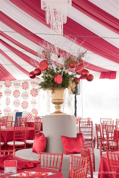candy cane themed tent   corporate christmas party