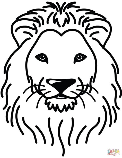 Real Lion Head Page Coloring Pages