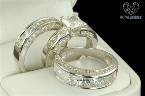 10k White Gold His And Her Diamond Engagement Bridal