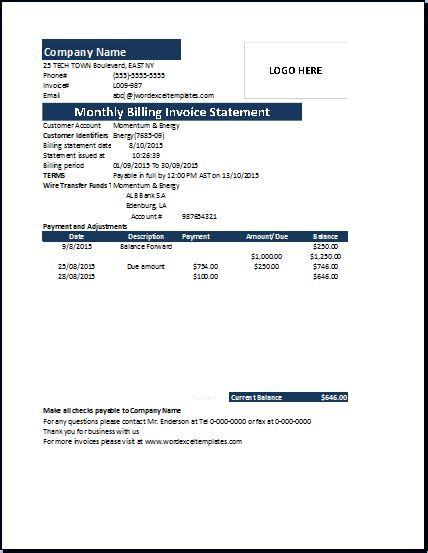 monthly billing invoice statement acts   summary