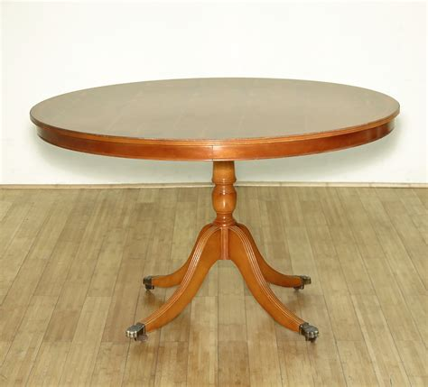 wooden table with wheels vintage yew wood regency round dining pedestal table w