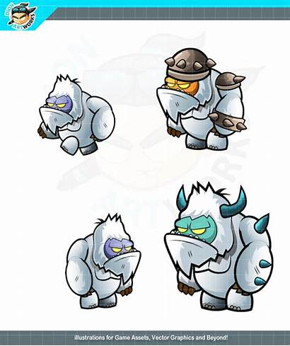 Yeti Character Monsters Games Animation Scrolling Side
